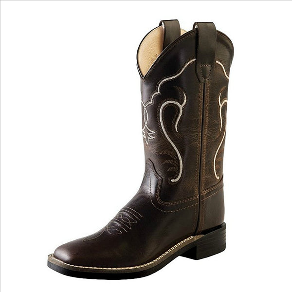 BSC1887 Old West Children's Square Toe Western Cowboy Boots - Brown