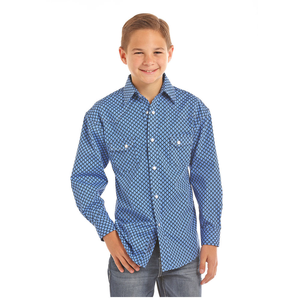 B8S5706 Rock & Roll Cowboy Boys Long Sleeve Blue Print Western Shirt