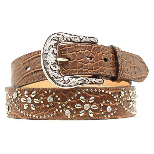 A1510602 CROCFLOAriat Women's Croc Print Studs Crystals Brown Leather Belt