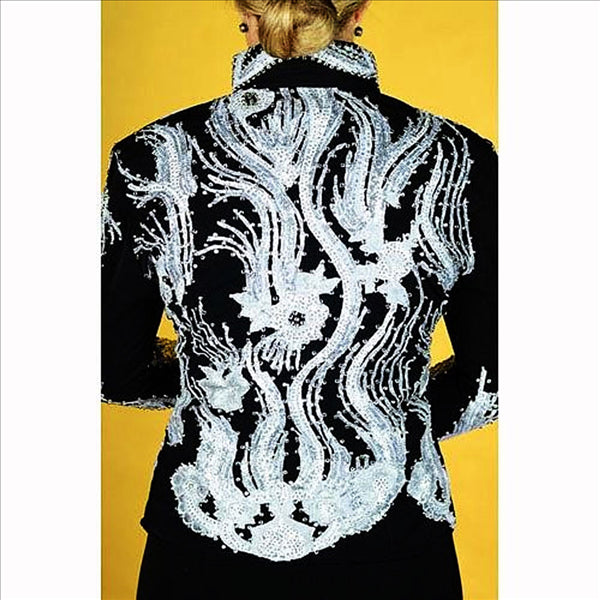 12328 Wire Horse LTD. Black Jacket with Silver & White Lace Medium