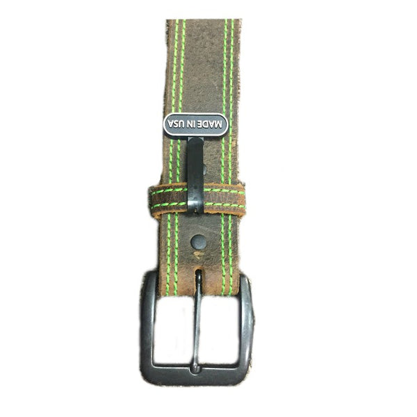 D1194 Men's 3-D Brown Leather Belt With Lime Green Stitching