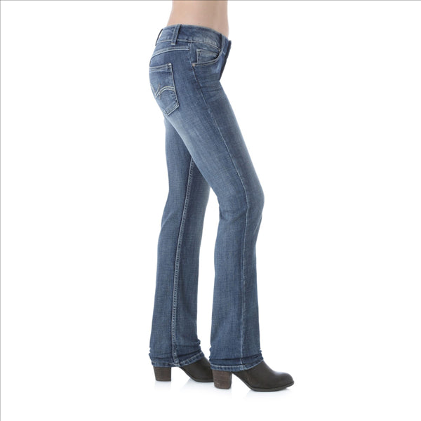 09MWTMS Wrangler Women's Premium Patch Mae Jean Embroidered Pocket Sits Above Hip Mid Stone