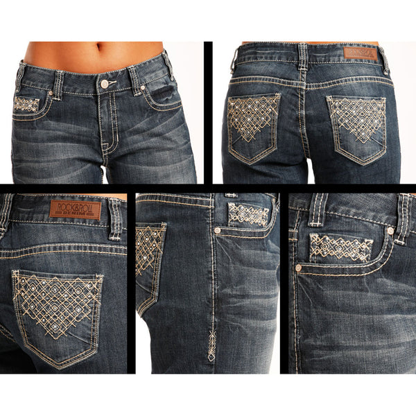W7-3398 Rock & Roll Cowgirl Juniors Boot Cut Jeans with Embroidery and Rhinestones