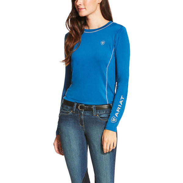 10020580 Ariat Women's Cambria Long Sleeve Crew Neck Top - Rush of Blue