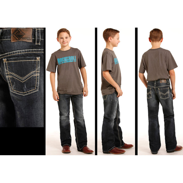 BB-3483 Rock & Roll Cowboy Boys Jeans - Bean Stitched V Pockets