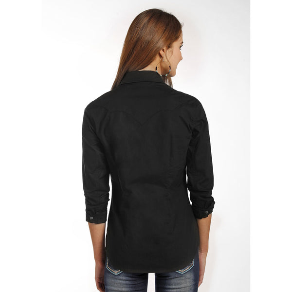 B4S4313 Rock & Roll Cowgirl Juniors Black Long Sleeve Western Snap Shirt