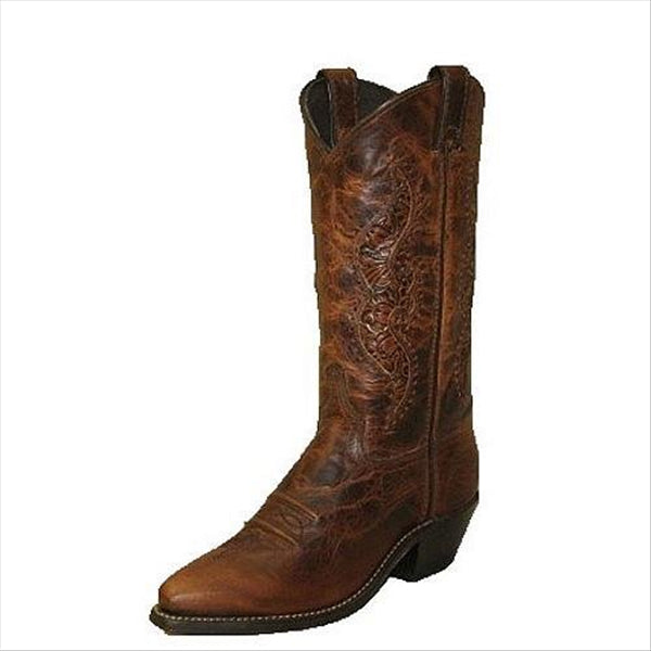 9141 Abilene Ladies Brown Western Cowboy Boot w/Tooled Inserts