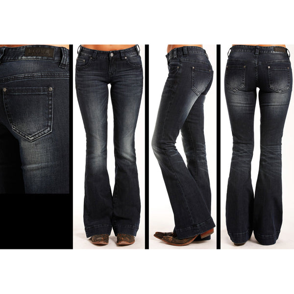 W8-3405 Rock & Roll Cowgirl Juniors Trouser Jeans with Triple Stitching