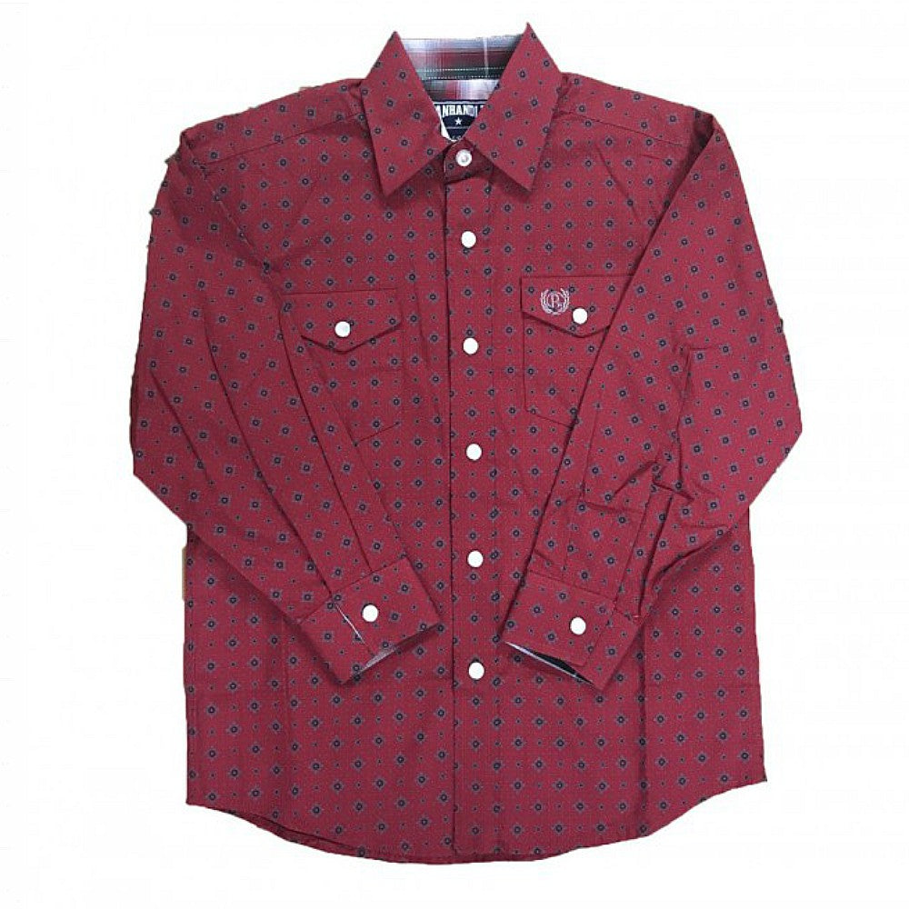 C0S3089 Panhandle Boys Printed Western Shirt- Red