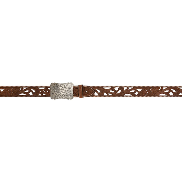 A2072 Angel Ranch 1 1/2 Inch Brown Ladies Fashion Belt with Cutouts