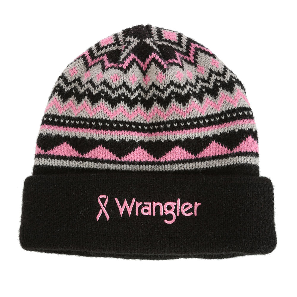 MWC221K Wrangler Western Logo Tough Enough To Wear Pink Beanie Cap