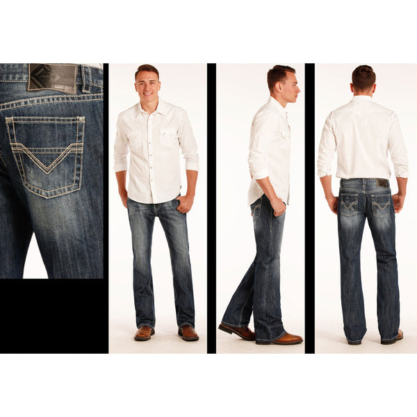 M0P2407 Rock & Roll Cowboy Men's Pistol Boot Cut Jeans Pocket Embroidery