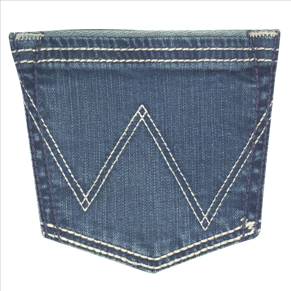 09MWTFB Wrangler Women's Premium Patch Mae Jean Sits Above Hip Dark Blue