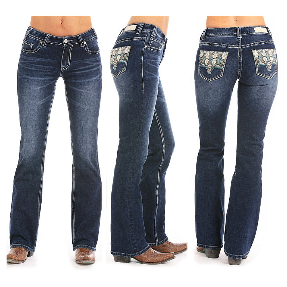 W1-5085 Rock & Roll Cowgirl Juniors Mid Rise Jean With Leather Appliques