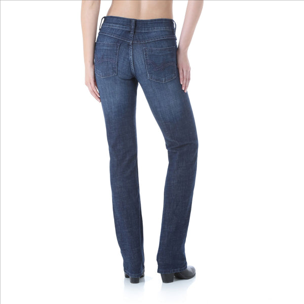09MWTDS Wrangler Women's Premium Patch Mae Straight Leg Jean Sits Above Hip Dark Stone