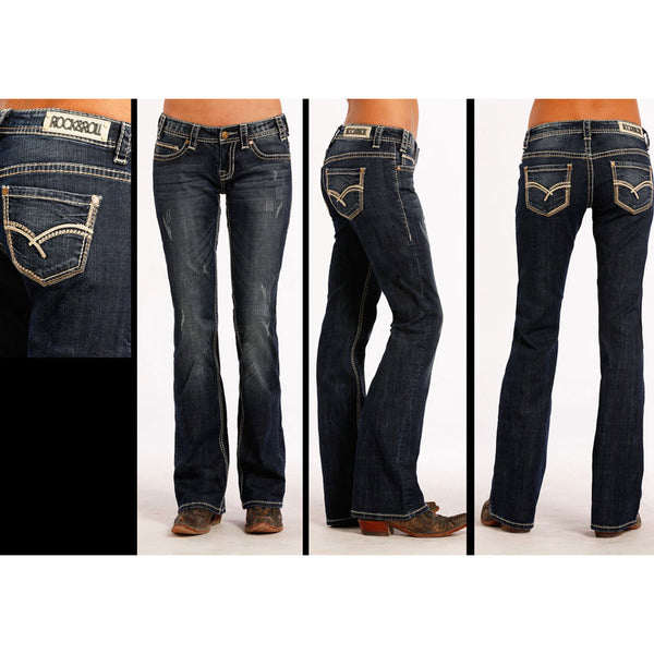 W2-8482 Rock & Roll Cowgirl Juniors Boyfriend Jeans Embroidered Pockets