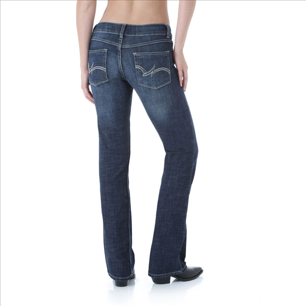 09MWZDO Wrangler Women's Premium Patch Mae Boot Cut Jean Sits Above Hip Dark Blue