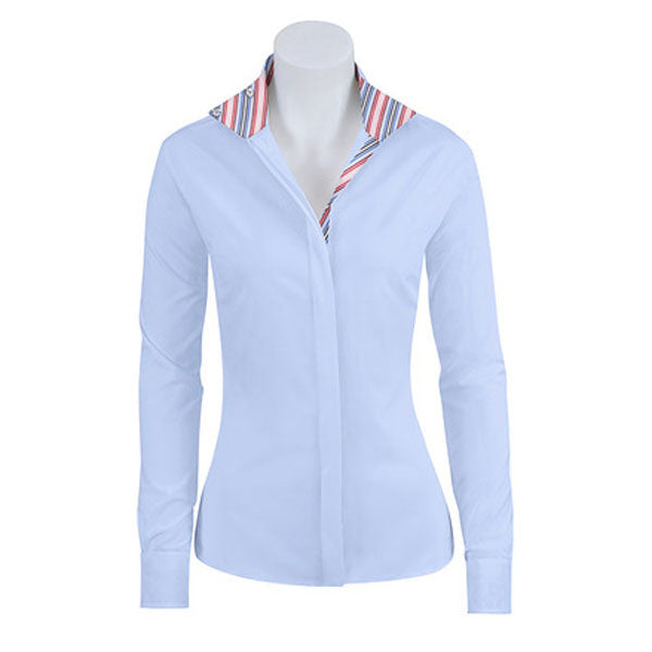 SP413C-J RJ Classics Girls Spruce Jr. Blue Stripe Trim Long Sleeve English Show Shirt