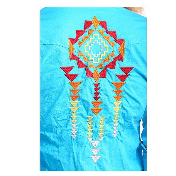 J2S5348 Panhandle Juniors Aztec Embroidered Western Shirt- Turquoise