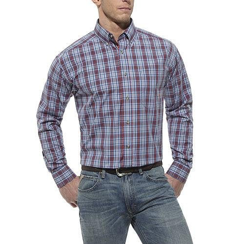 10012185 Ariat Mens Vista Performance Long Sleeve Shirt - Blue Multi Plaid