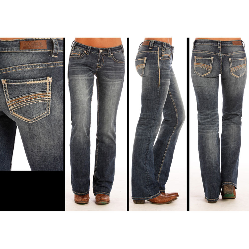 W7-1393 Rock & Roll Cowgirl Juniors Boot Cut Jeans Multistitch Curved Embroidery