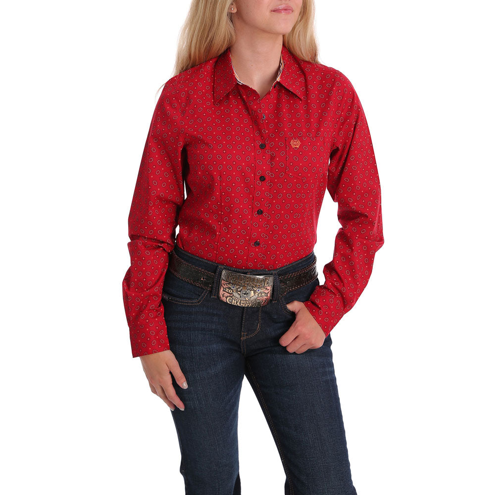 MSW9164143 Cinch Women's Red Floral Print Western Button Down Shirt