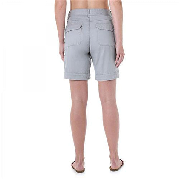 WRW92GY As Real As Wrangler Women's Relaxed Fit Twill Shorts - Grey