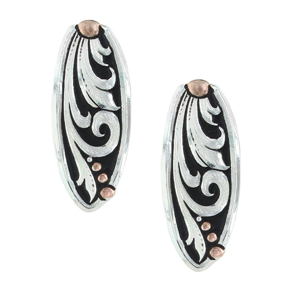 ER2837RGBK Leather Cut Rose Gold Trailing Vine Earrings Montana Silversmiths