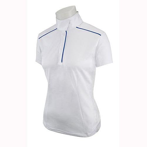 P690A Ladies Prestige Collection White Short Sleeve Pullover with Blue Piping - Wicking/Stretch