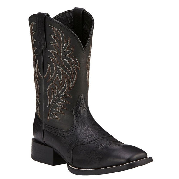 10016292 Ariat Mens Sport Leather Wide Square Toe Western Cowboy Boot Black