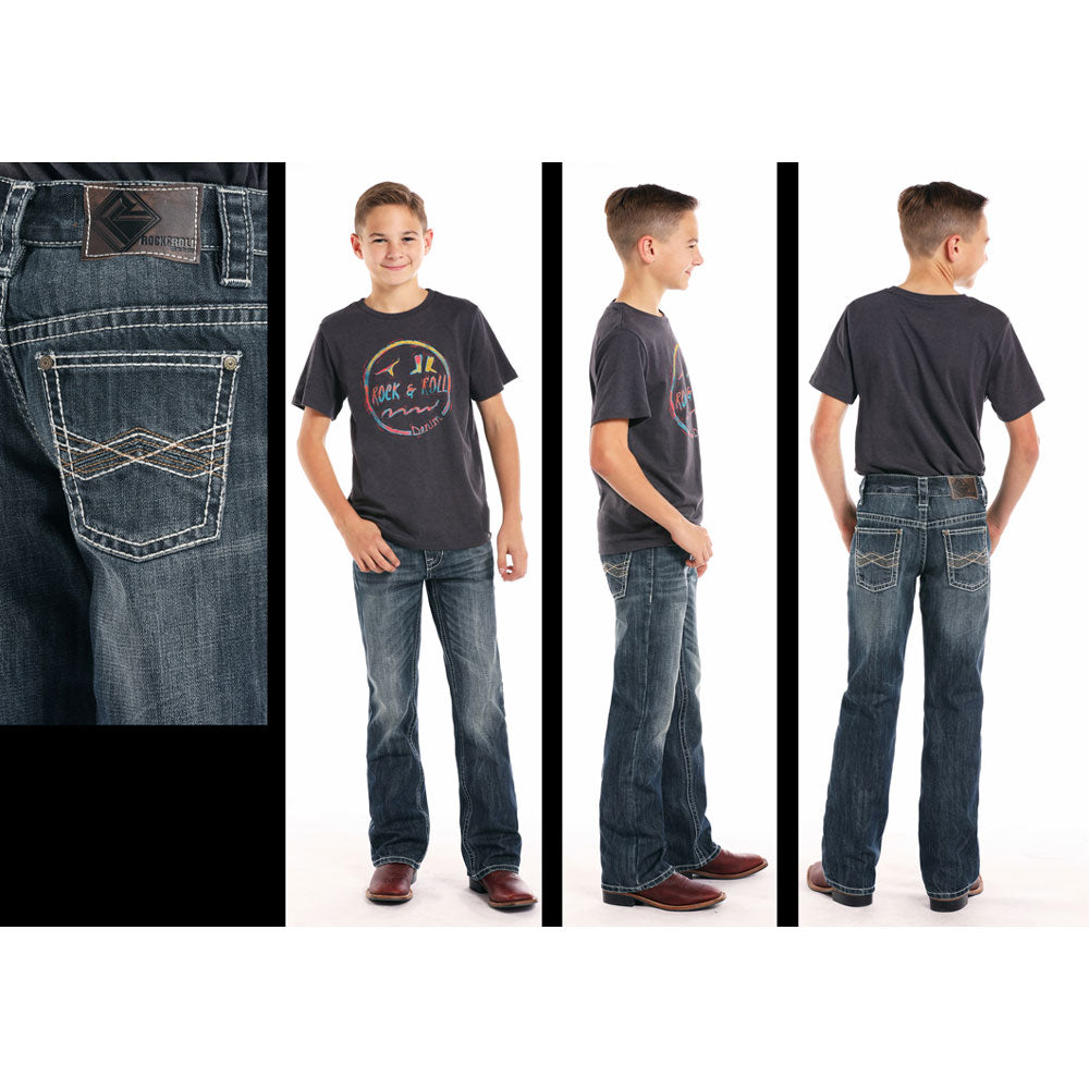 BB-7413 Rock & Roll Cowboy Boys Denim BB Gun Jeans with Embroidered Pockets