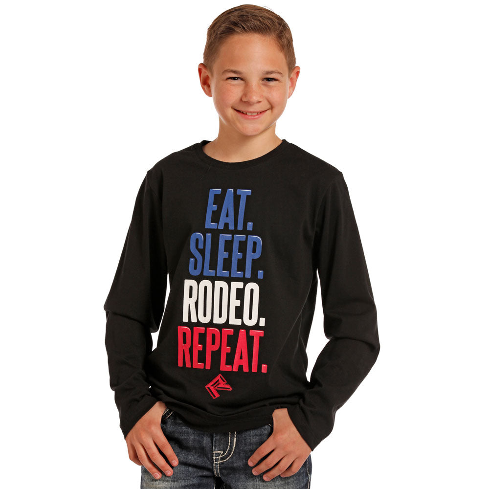 P4T4009 Rock & Roll Cowboy Boys Black EAT. SLEEP. RODEO. REPEAT Long Sleeve Tee