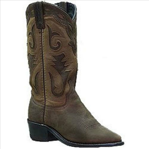 4540 Sage Ladies Brown Distressed Western Boot with Nubuck Accents