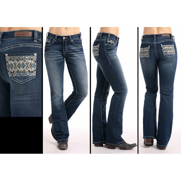 W1-7665 Rock & Roll Denim Juniors  Mid Rise Leather Diamond Embroidered Jeans