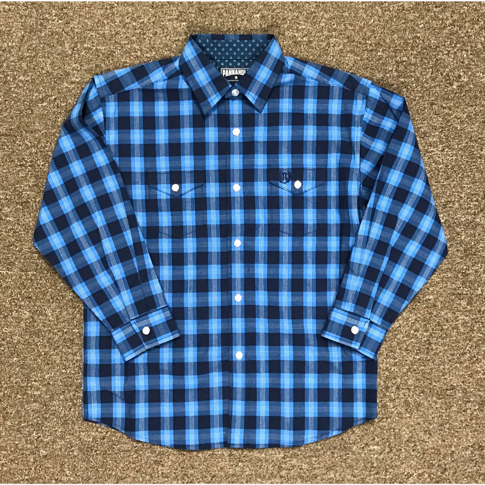 C0S4069 Panhandle Select Boys Long Sleeve Western Plaid Shirt