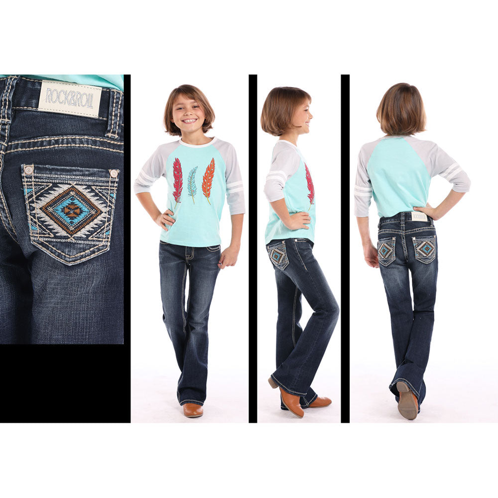 G5-7688 Rock & Roll Cowgirl Girls' Jeans Aztec Embroidered Pockets