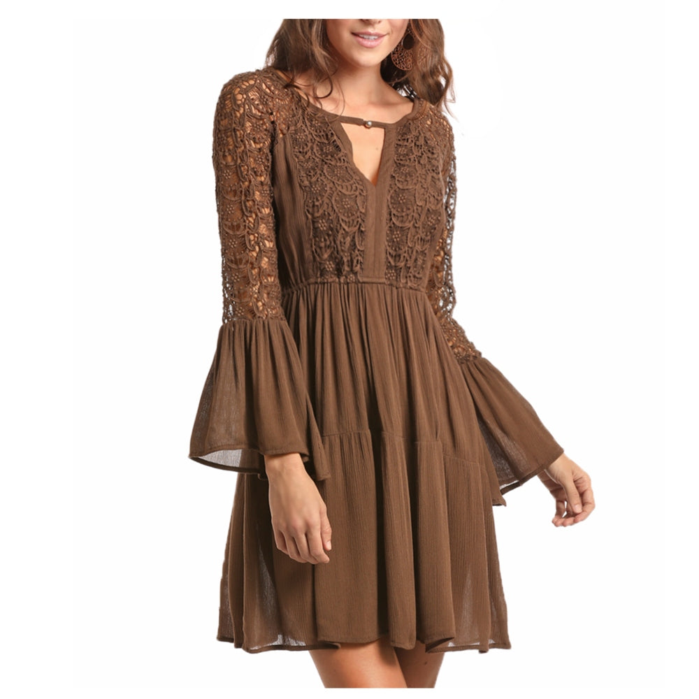 D4-7256 Rock & Roll Cowgirl Juniors Lace Overlay Western Dress - Brown