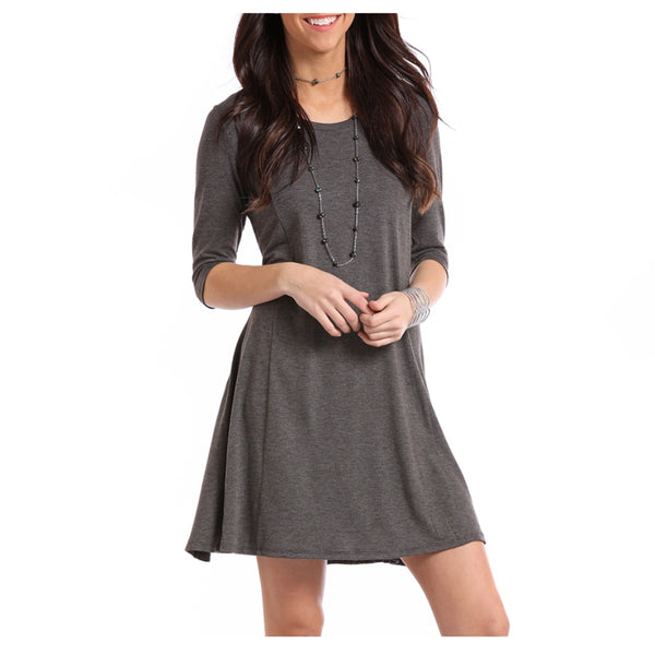 J0-7336 Rock & Roll Cowgirl Juniors Charcoal Grey Swing Dress