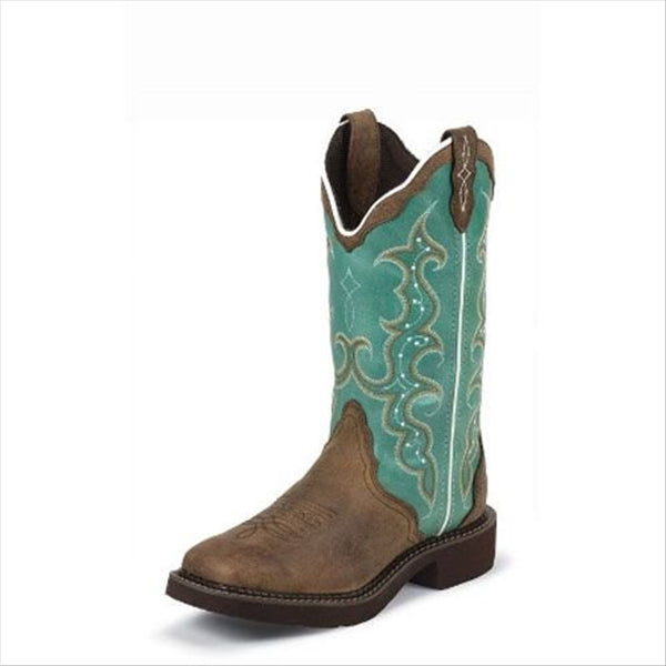 L2904 Justin Ladies Gypsy Barnwood Brown Cow Western Boot