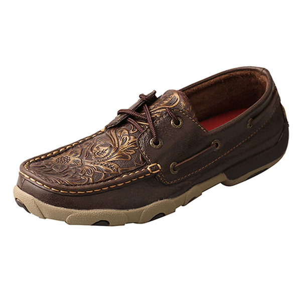 WDM0070 Twisted X Women's Floral Embossed Driving Moc - Brown