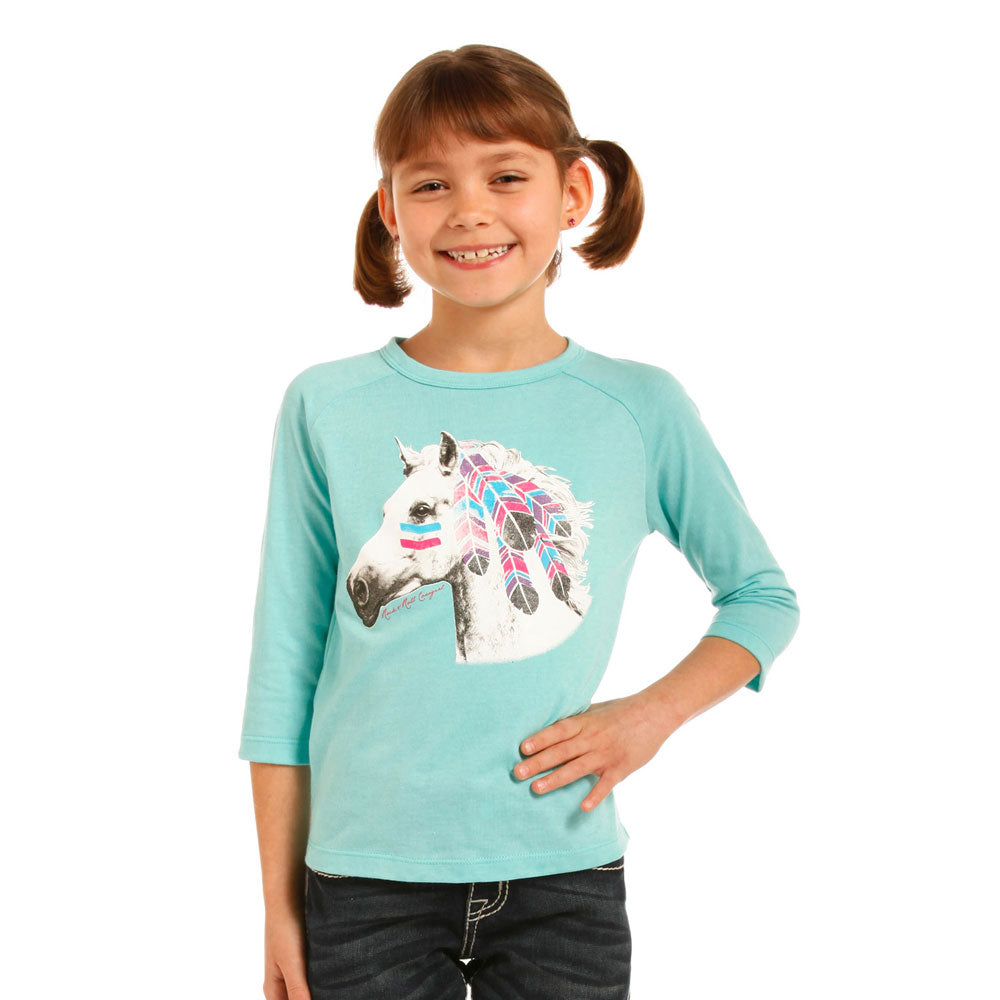 G4T3368 Rock & Roll Cowgirl Girls' War Pony Baseball Tee - Turquoise