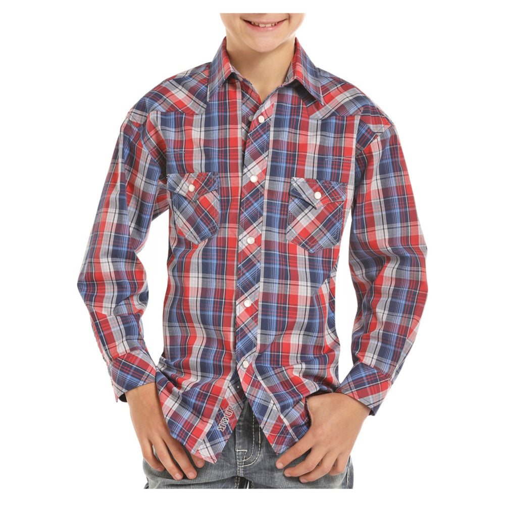 B8S7011 Rock & Roll Cowboy Boys Blue Red Plaid Western Shirt