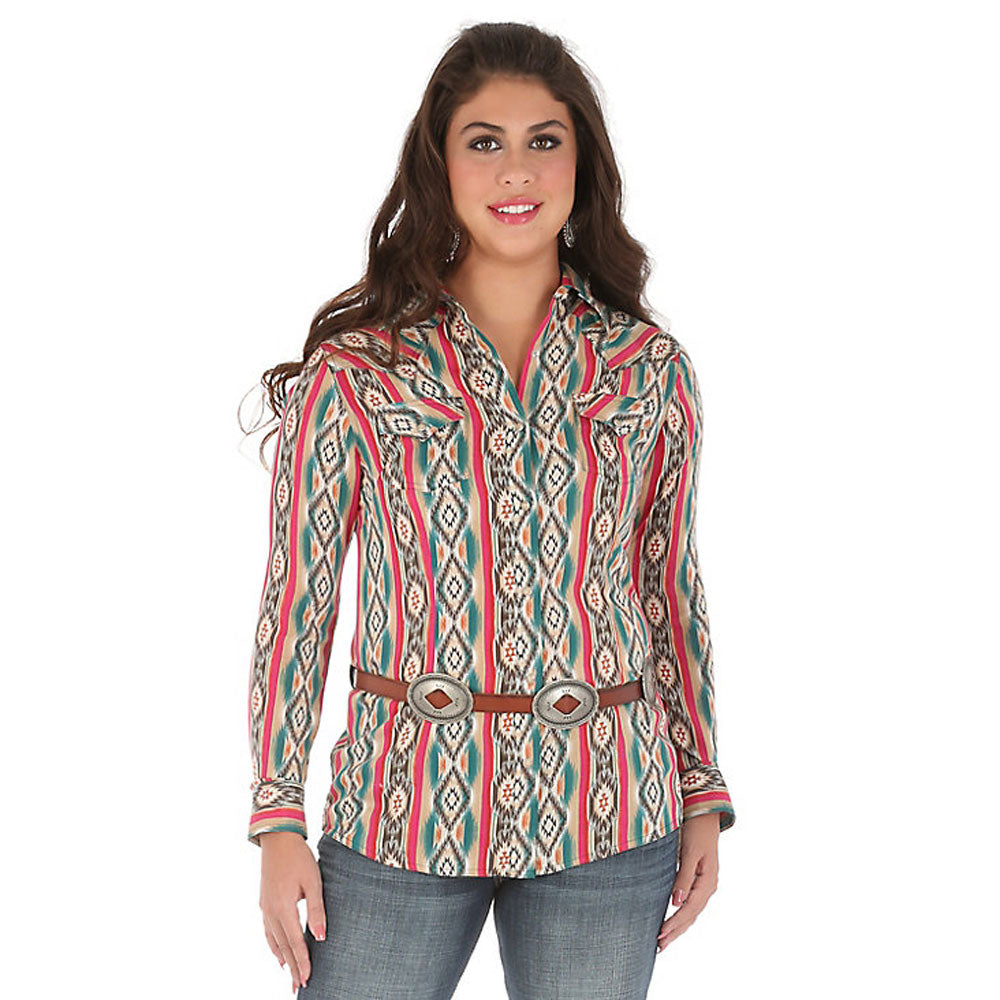 LW3171M Wrangler Women's Long Sleeve Western One Point Yokes Aztec Print Snap Shirt