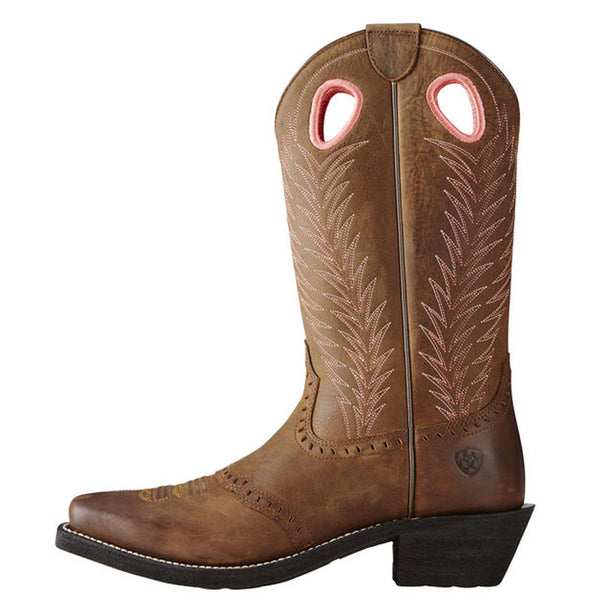 10019909 Ariat Women's Heritage Rancher Western Cowboy Boot Mustang Mud