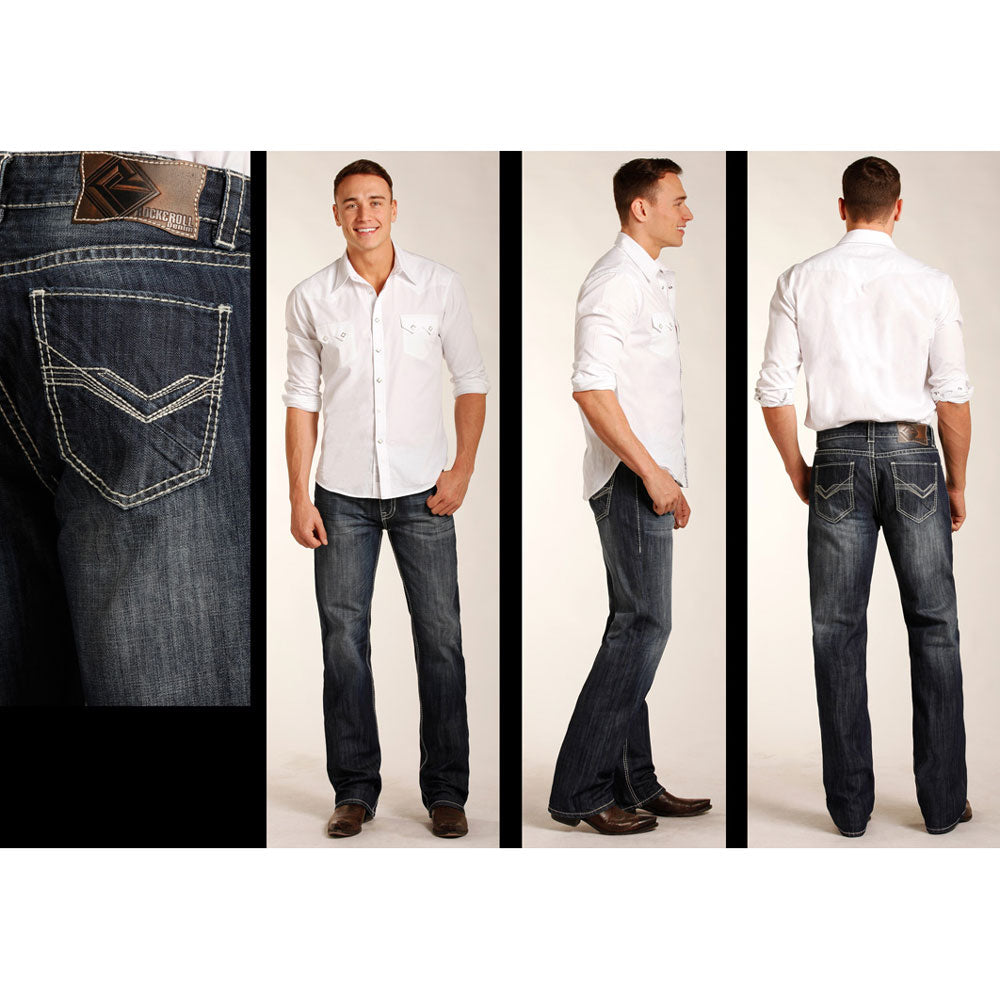 M0S3468 Rock & Roll Cowboy Men's Double Barrel Straight Leg Jeans Embroidered Pockets