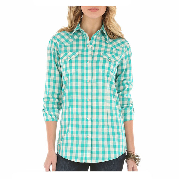 LW3061Q Wrangler Women's Teal And Metallic Gold Plaid Western Shirt