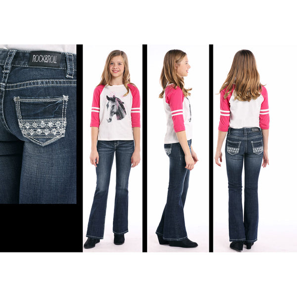 G5-7690 Rock & Roll Cowgirl Girls' Jeans Lace Embroidery on Pockets
