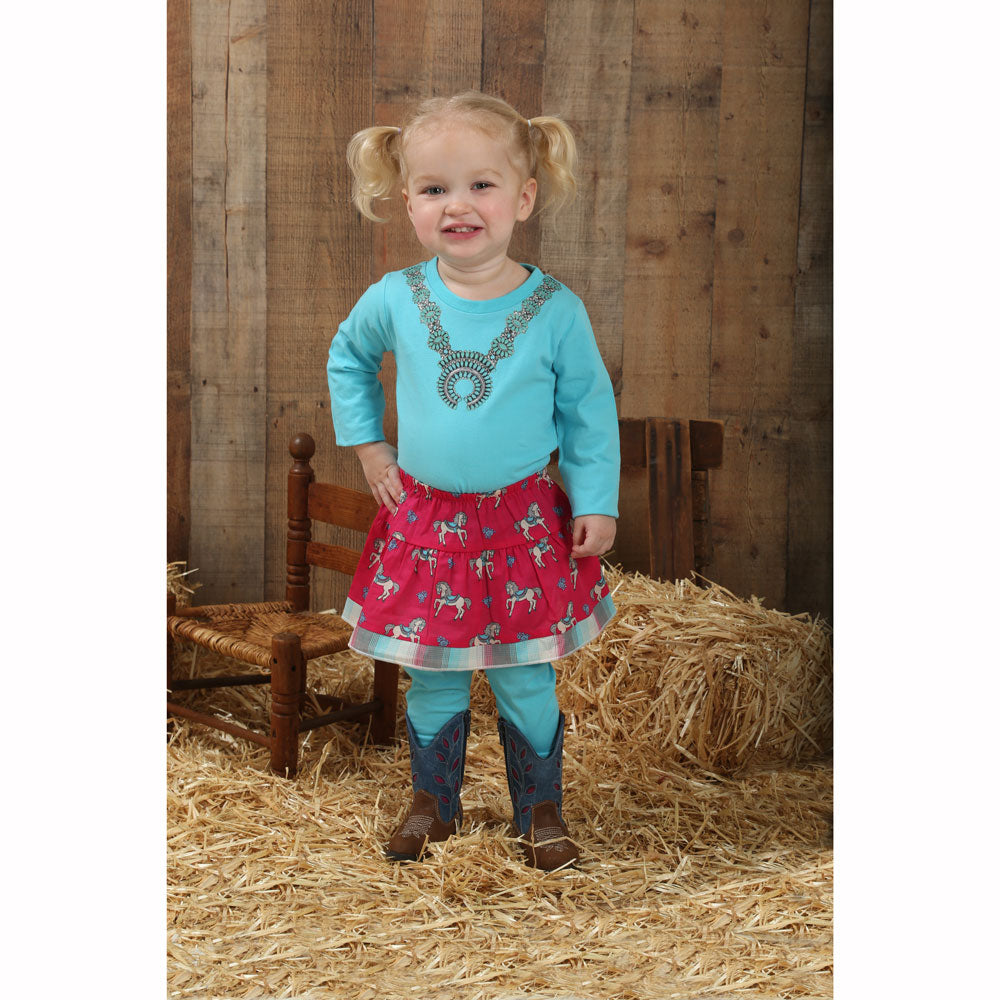 PQS845M Wrangler Baby Girl Raspberry Elastic Waist Skirt with Horses