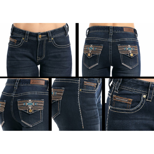 W1-7663 Rock & Roll Denim Juniors Extra Stretch Mid Rise Jeans