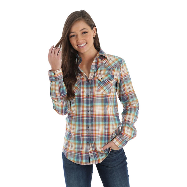 LW1856M Wrangler Women's Navy, Red & Gold Plaid Western Snap Shirt
